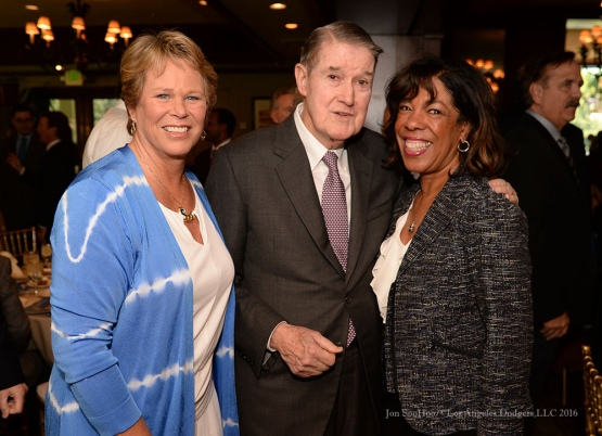 Ann Meyers-Drysdale, Peter Omalley and Joni Campanella-Roan--Southern California Sports Broadcasters Luncheon Monday, January 25, 2016 at Lakeside Country Club in Burbank,CA. Photo by Jon SooHoo/ © Los Angeles Dodgers,LLC 2016