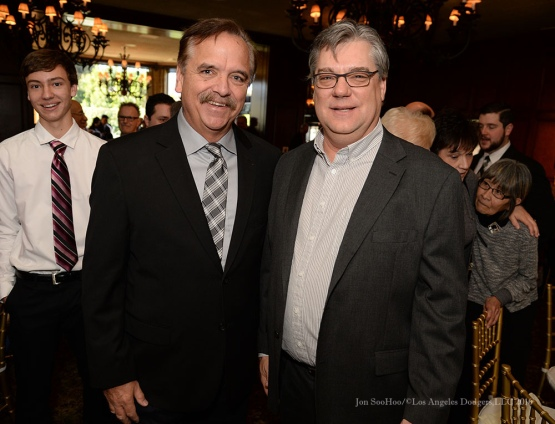 Pete Arbogast and Tom Hoffarth--Southern California Sports Broadcasters Luncheon Monday, January 25, 2016 at Lakeside Country Club in Burbank,CA. Photo by Jon SooHoo/ © Los Angeles Dodgers,LLC 2016