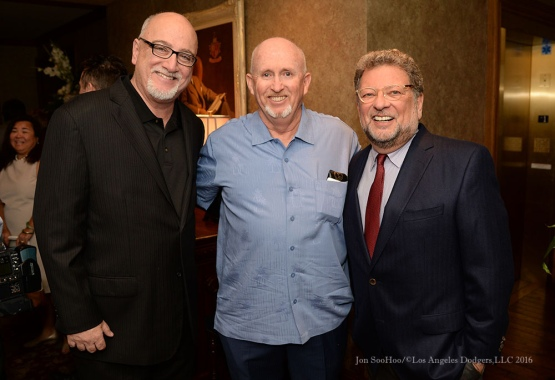 Bill Plaschke, Terrance Morgan and Charley Steiner--Southern California Sports Broadcasters Luncheon Monday, January 25, 2016 at Lakeside Country Club in Burbank,CA. Photo by Jon SooHoo/ © Los Angeles Dodgers,LLC 2016