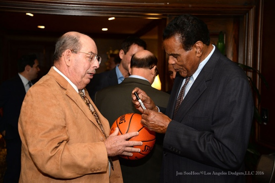 Tommy Hawkins signs for fan--Southern California Sports Broadcasters Luncheon Monday, January 25, 2016 at Lakeside Country Club in Burbank,CA. Photo by Jon SooHoo/ © Los Angeles Dodgers,LLC 2016