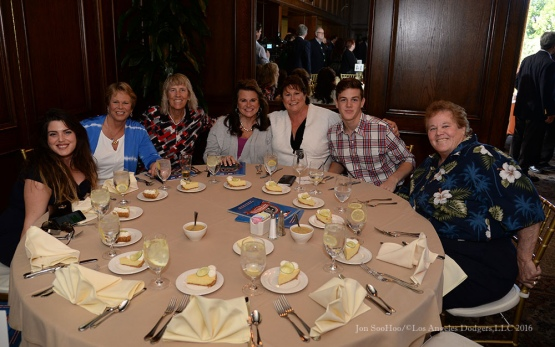Ann Meyers-Drysdale and family--Southern California Sports Broadcasters Luncheon Monday, January 25, 2016 at Lakeside Country Club in Burbank,CA. Photo by Jon SooHoo/ © Los Angeles Dodgers,LLC 2016