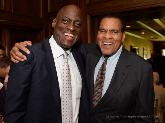 Michael Cooper and Tommy Hawkins--Southern California Sports Broadcasters Luncheon Monday, January 25, 2016 at Lakeside Country Club in Burbank,CA. Photo by Jon SooHoo/ © Los Angeles Dodgers,LLC 2016