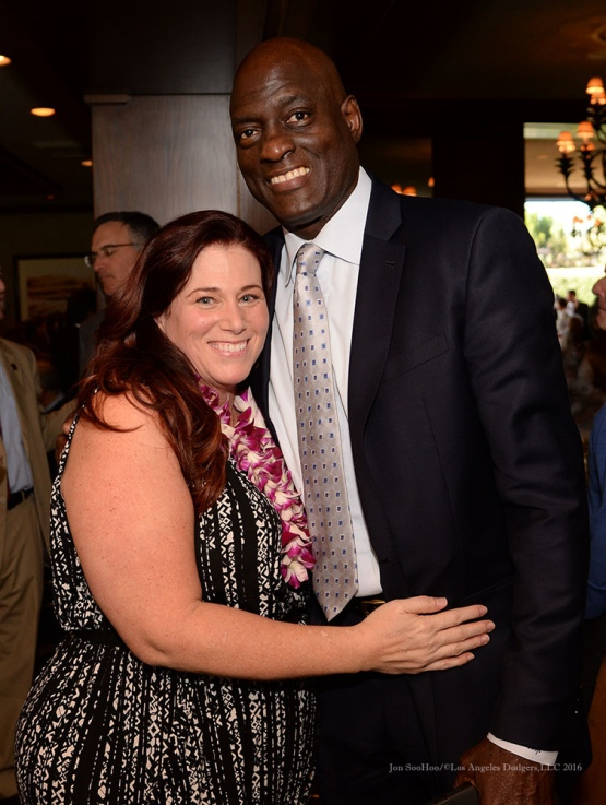 Elizabeth McDonnell and Michael Cooper--Southern California Sports Broadcasters Luncheon Monday, January 25, 2016 at Lakeside Country Club in Burbank,CA. Photo by Jon SooHoo/ © Los Angeles Dodgers,LLC 2016