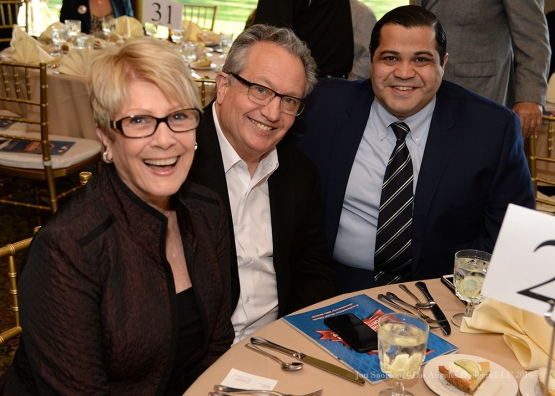 Linda McCoy, Steve Brener and Arash Markazi--Southern California Sports Broadcasters Luncheon Monday, January 25, 2016 at Lakeside Country Club in Burbank,CA. Photo by Jon SooHoo/ © Los Angeles Dodgers,LLC 2016