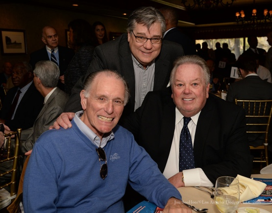 Doug Krikorian, Tom Hoffarth and Chris Roberts-- Southern California Sports Broadcasters Luncheon Monday, January 25, 2016 at Lakeside Country Club in Burbank,CA. Photo by Jon SooHoo/ © Los Angeles Dodgers,LLC 2016
