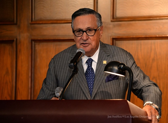 Jaime Jarrin--Southern California Sports Broadcasters Luncheon Monday, January 25, 2016 at Lakeside Country Club in Burbank,CA. Photo by Jon SooHoo/ © Los Angeles Dodgers,LLC 2016