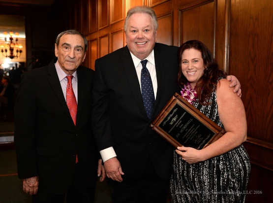Joe Cala, Chris Roberts and Elizabeth McDonnell--Southern California Sports Broadcasters Luncheon Monday, January 25, 2016 at Lakeside Country Club in Burbank,CA. Photo by Jon SooHoo/ © Los Angeles Dodgers,LLC 2016