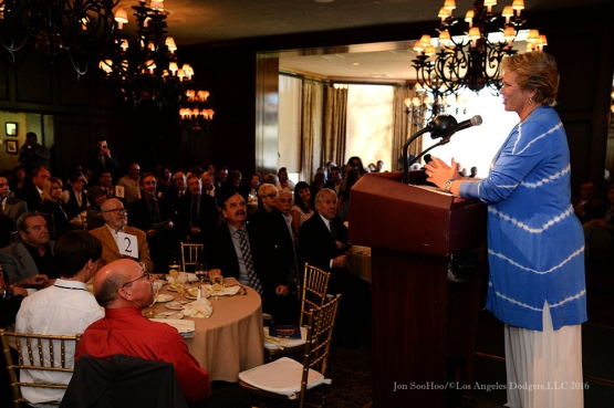 Ann Meyers-Drysdale--Southern California Sports Broadcasters Luncheon Monday, January 25, 2016 at Lakeside Country Club in Burbank,CA. Photo by Jon SooHoo/ © Los Angeles Dodgers,LLC 2016
