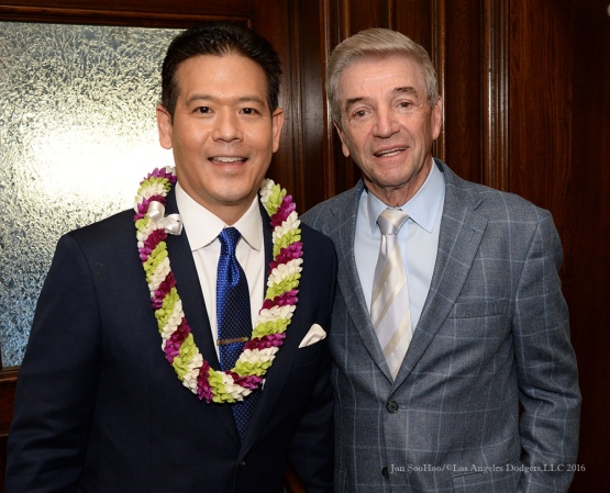 Rob Fukuzaki and Tom Dreesen--Southern California Sports Broadcasters Luncheon Monday, January 25, 2016 at Lakeside Country Club in Burbank,CA. Photo by Jon SooHoo/ © Los Angeles Dodgers,LLC 2016
