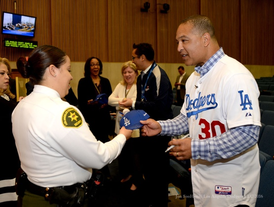 Los Angeles Dodgers Love LA Tour with Dave Roberts at Los Angeles County Supervisors in Los Angeles, CaliforniaTuesday, January 26, 2016