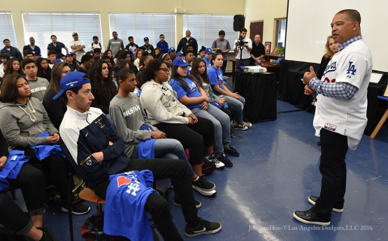 Los Angeles Dodgers Love LA Tour with Dave Roberts at John Muir High School in Pasadena,California Tuesday, January 26, 2016