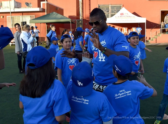 Los Angeles Dodgers Love LA Tour with Yasiel Puig at the Red Shield Salvation Army Tuesday, January 26, 2016. Photo by Jon SooHoo/©Los Angeles Dodgers,LLC 2016