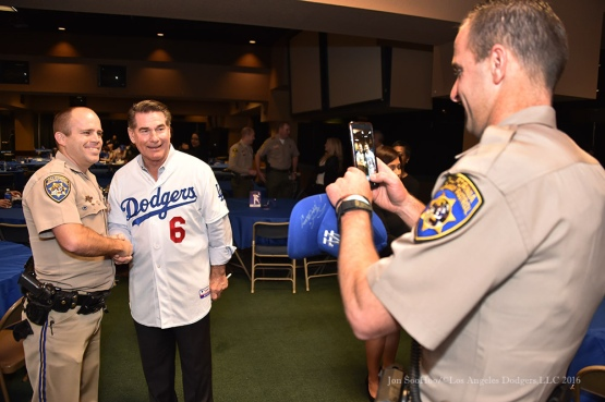 Steve Garvey poses with CHP--Los Angeles Dodgers Love LA Tour at the San Bernadino Law Enforcement Lunch in San Bernadino, California Wednesday, January 27, 2016. Photo by Jon SooHoo/©Los Angeles Dodgers,LLC 2016