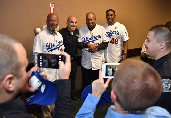 Derrell Thomas, Tommy Davis and Dennis Powell pose--Los Angeles Dodgers Love LA Tour at the San Bernadino Law Enforcement Lunch in San Bernadino, California Wednesday, January 27, 2016. Photo by Jon SooHoo/©Los Angeles Dodgers,LLC 2016