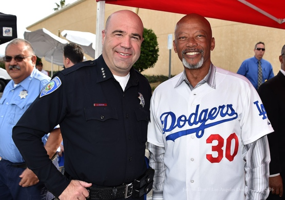 Derrell Thomas poses with SB Chief of Police Jarrod Burguan--Los Angeles Dodgers Love LA Tour at the San Bernadino Law Enforcement Lunch in San Bernadino, California Wednesday, January 27, 2016. Photo by Jon SooHoo/©Los Angeles Dodgers,LLC 2016