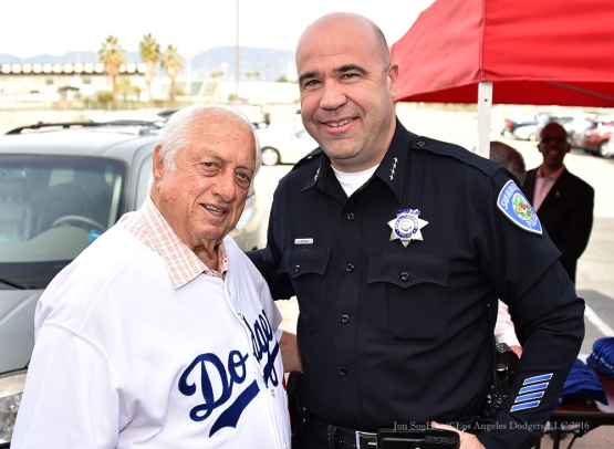 Tommy Lasorda poses with San Bernadino Chief of Police Jarrod Burguan--Los Angeles Dodgers Love LA Tour at the San Bernadino Law Enforcement Lunch in San Bernadino, California Wednesday, January 27, 2016. Photo by Jon SooHoo/©Los Angeles Dodgers,LLC 2016
