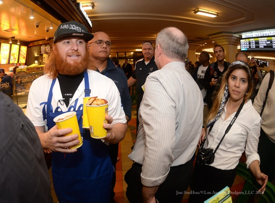 Kikee Hernandez, Joc Pederson and Justin Turner--Los Angeles Dodgers Love LA Tour at Wetzels Pretzels at Union Station in Los Angeles, California Thursday, January 28, 2016. Photo by Jon SooHoo/©Los Angeles Dodgers,LLC 2016