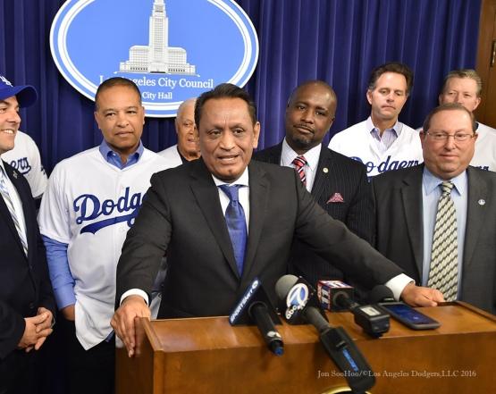 Councilman Gil Cedillo--Los Angeles Dodgers Love LA Tour- Friday, January 29, 2016. Photo by Jon SooHoo/©Los Angeles Dodgers,LLC 2016