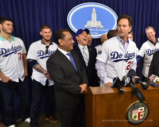 Eric Karros at City Hall--Los Angeles Dodgers Love LA Tour- Friday, January 29, 2016. Photo by Jon SooHoo/©Los Angeles Dodgers,LLC 2016