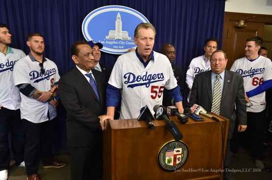 Orel Hershiser at City Hall--Los Angeles Dodgers Love LA Tour- Friday, January 29, 2016. Photo by Jon SooHoo/©Los Angeles Dodgers,LLC 2016