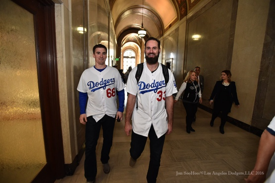 Ross Stripling and Scott Van Slyke at City Hall--Los Angeles Dodgers Love LA Tour- Friday, January 29, 2016. Photo by Jon SooHoo/©Los Angeles Dodgers,LLC 2016