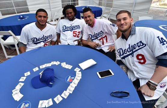 Garcia, Baez, Frias and Grandal at City Hall-Los Angeles Dodgers Love LA Tour- Friday, January 29, 2016. Photo by Jon SooHoo/©Los Angeles Dodgers,LLC 2016