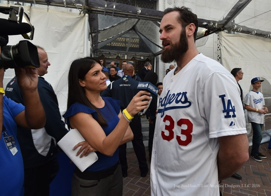 Alanna Rizzo with Scott Van Slyke--Los Angeles Dodgers Love LA Tour- Friday, January 29, 2016. Photo by Jon SooHoo/©Los Angeles Dodgers,LLC 2016
