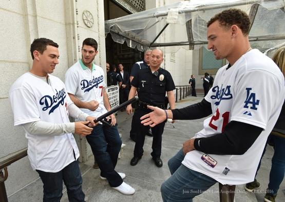 Austin Barnes, Josh Ravin and Trayce Thompson at City Hall--Los Angeles Dodgers Love LA Tour- Friday, January 29, 2016. Photo by Jon SooHoo/©Los Angeles Dodgers,LLC 2016