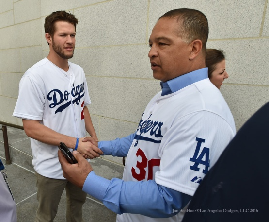 Clayton Kershaw and Dave Roberts at City Hall--Los Angeles Dodgers Love LA Tour- Friday, January 29, 2016. Photo by Jon SooHoo/©Los Angeles Dodgers,LLC 2016