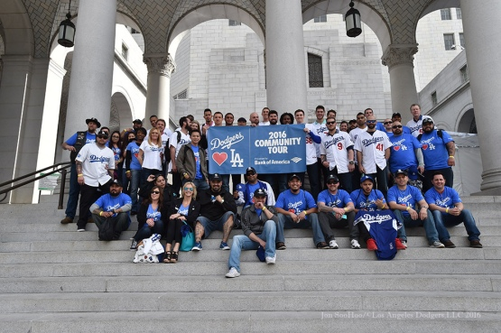 Dodgers pose with Wounded Warrior vets at City Hall--Los Angeles Dodgers Love LA Tour- Friday, January 29, 2016. Photo by Jon SooHoo/©Los Angeles Dodgers,LLC 2016
