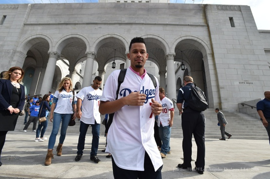 Carlos Frias at City Hall--Los Angeles Dodgers Love LA Tour- Friday, January 29, 2016. Photo by Jon SooHoo/©Los Angeles Dodgers,LLC 2016