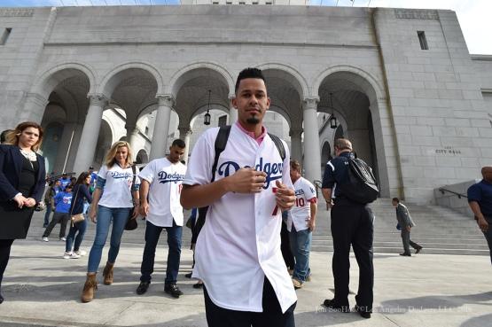 Carlos Frias at City Hall--Los Angeles Dodgers Love LA Tour- Friday, January 29, 2016. Photo by Jon SooHoo/©Los Angeles Dodgers,LLC 2016