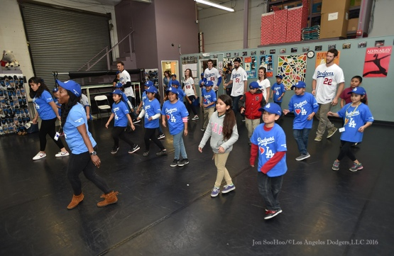 "Dance Class at ""A Place Called Home"" Los Angeles Dodgers Love LA Tour- Friday, January 29, 2016. Photo by Jon SooHoo/©Los Angeles Dodgers,LLC 2016"