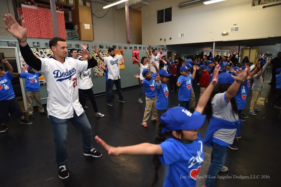 "Trayce Thompson at dance class at ""A Place Called Home""--Los Angeles Dodgers Love LA Tour- Friday, January 29, 2016. Photo by Jon SooHoo/©Los Angeles Dodgers,LLC 2016"