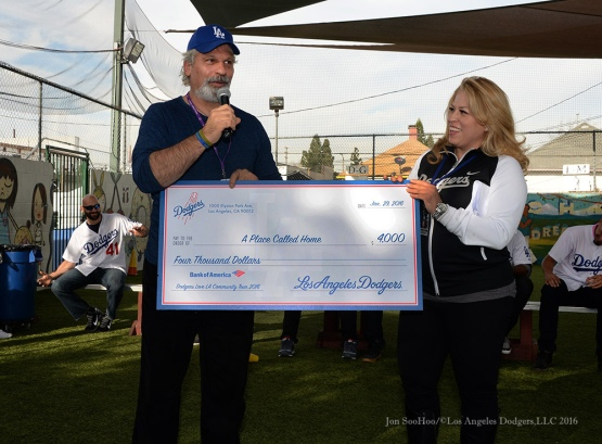 "Dodgers donate to at ""A Place Called Home""--Los Angeles Dodgers Love LA Tour- Friday, January 29, 2016. Photo by Jon SooHoo/©Los Angeles Dodgers,LLC 2016"