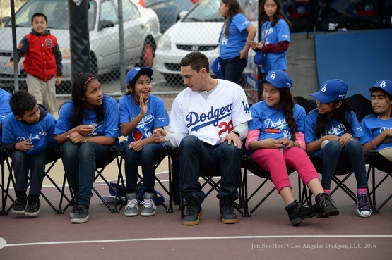 "Austin Barnes makes friends at ""A Place Called Home""--Los Angeles Dodgers Love LA Tour- Friday, January 29, 2016. Photo by Jon SooHoo/©Los Angeles Dodgers,LLC 2016"
