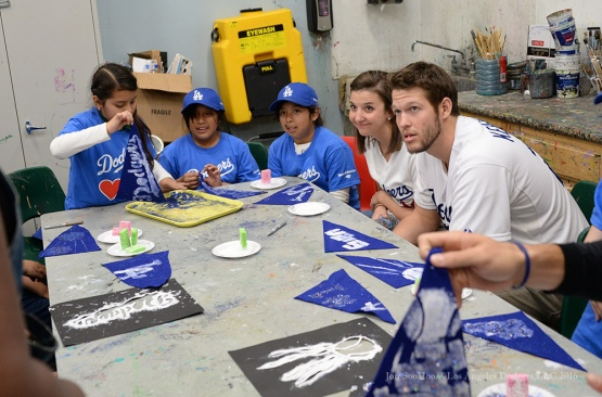 "Ellen and Clayton Kershaw do art at ""A Place Called Home""--Los Angeles Dodgers Love LA Tour- Friday, January 29, 2016. Photo by Jon SooHoo/©Los Angeles Dodgers,LLC 2016"
