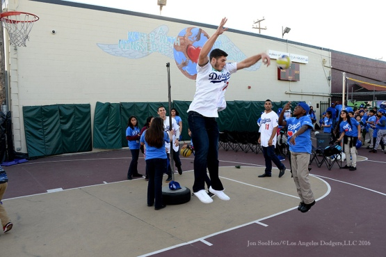"Josh Ravin pummels a jump shot at ""A Place Called Home""--Los Angeles Dodgers Love LA Tour- Friday, January 29, 2016. Photo by Jon SooHoo/©Los Angeles Dodgers,LLC 2016"