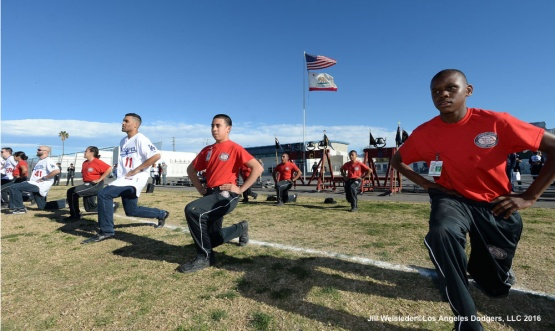 Micah Johnson works out at the North Valley Military Institute in Sun Valley where some of the Dodger players partake in group exercises along with the cadets. Jill Weisleder/LA Dodgers