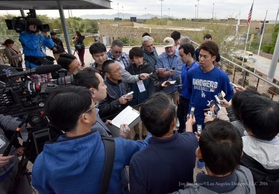 Los Angeles Dodgers Kenta Maeda speaks to the media during reporting day for pitchers and catchers Friday, February 19, 2016 at Camelback Ranch-Glendale in Phoenix, Arizona