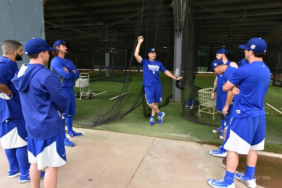 Los Angeles Dodgers coach Bob Geren speaks to the catchers during reporting day for pitchers and catchers Friday, February 19, 2016 at Camelback Ranch-Glendale in Phoenix, Arizona