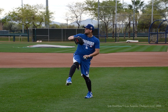 Los Angeles Dodgers pitcher Luis Avilan throws during reporting day for pitchers and catchers Friday, February 19, 2016 at Camelback Ranch-Glendale in Phoenix, Arizona