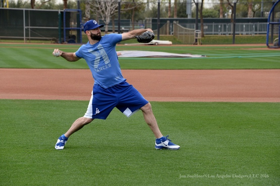Los Angeles Dodgers Chris Hatcher throws during reporting day for pitchers and catchers Friday, February 19, 2016 at Camelback Ranch-Glendale in Phoenix, Arizona