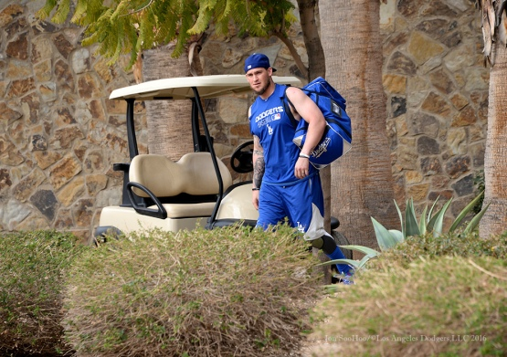 Los Angeles Dodgers Yasmani Grandal heads to the field during reporting day for pitchers and catchers Friday, February 19, 2016 at Camelback Ranch-Glendale in Phoenix, Arizona