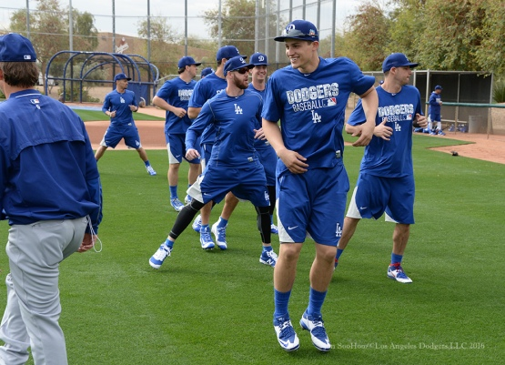 Los Angeles Dodgers Corey Seager works out with teammates during reporting day for pitchers and catchers Friday, February 19, 2016 at Camelback Ranch-Glendale in Phoenix, Arizona