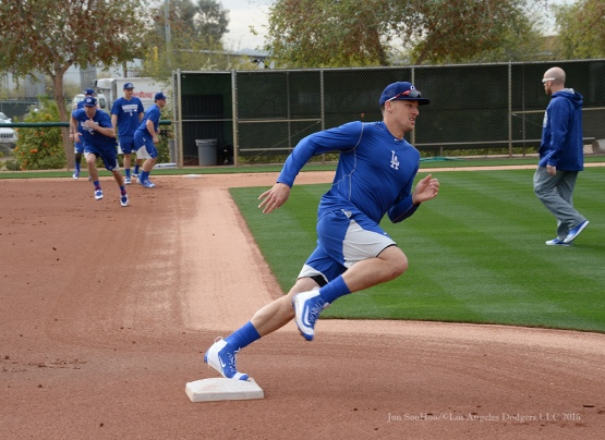 Los Angeles Dodgers Trayce Thompson rounds second during drills on reporting day for pitchers and catchers Friday, February 19, 2016 at Camelback Ranch-Glendale in Phoenix, Arizona