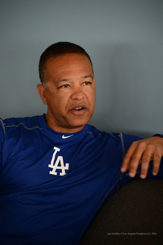 Los Angeles Dodgers manager Dave Roberts speaks to the media during reporting day for pitchers and catchers Friday, February 19, 2016 at Camelback Ranch-Glendale in Phoenix, Arizona