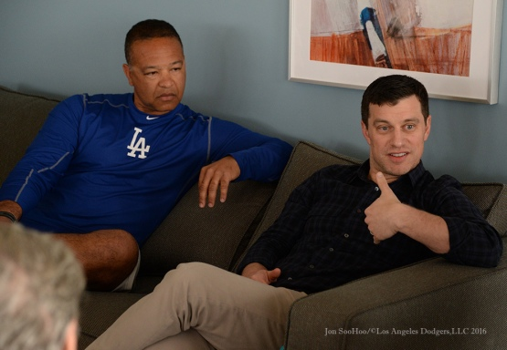 Los Angeles Dodgers manager Dave Roberts and President of Baseball Operations Andrew Friedman speak to the media during reporting day for pitchers and catchers Friday, February 19, 2016 at Camelback Ranch-Glendale in Phoenix, Arizona
