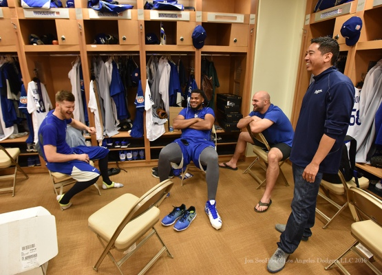 Los Angeles Dodgers JP Howell, Kenley Jansen, Adam Liberatore and Traveling Secretary Scott Akasaki laugh it up during reporting day for pitchers and catchers Friday, February 19, 2016 at Camelback Ranch-Glendale in Phoenix, Arizona