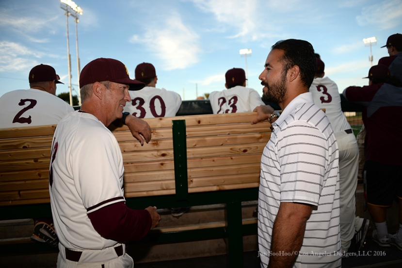 Los Angeles Dodgers Andre Ethier honored by Arizona State University February 19, 2016 at Phoenix Municipal Stadium in Phoenix, Arizona